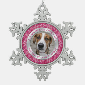 Pet Dog Memorial Photo Christmas Pink Silver Pewter Snowflake Decoration