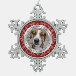 Pet Dog Memorial Photo Christmas Red Silver Pewter Snowflake Decoration