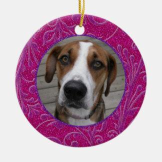 Pet Dog Memorial Pink Purple Photo Christmas Ceramic Ornament