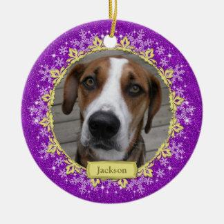 Pet Dog Memorial Purple Snowflake Photo Christmas Ceramic Ornament