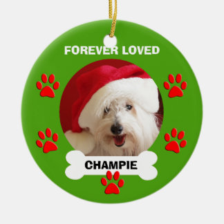 Pet Dog Name and Photo Memorial Christmas Ornament