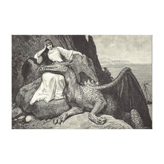Pet Dragon and the Maiden Canvas Print