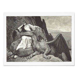 Pet Dragon and the Maiden Photographic Print