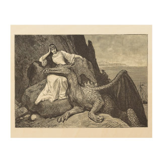 Pet Dragon and the Maiden Wood Print