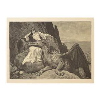 Pet Dragon and the Maiden Wood Wall Art