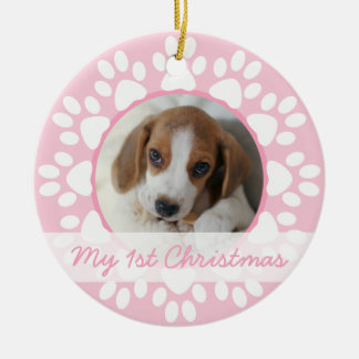 Pet first Christmas ornament Pink paws