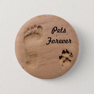 Pet & Footprint in the Sand 6 Cm Round Badge