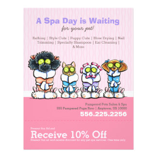 Pet Groomer Spa Dogs Cat Robes Pink Coupon Ad Custom Flyer