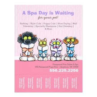 Pet Groomer Spa Dogs Cat Robes Pink Tear Sheet Custom Flyer