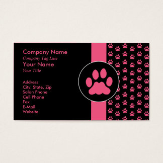 Pet Grooming PawPrint Business Card