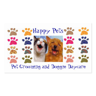 Pet Grooming Pets Sitting Paw Prints Business Card