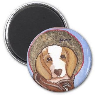 pet icon beagle-  peace 6 cm round magnet