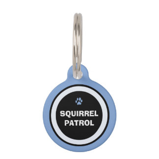 Pet ID Tag - Blue & Black - Squirrel Patrol