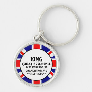 Pet ID Tag - British Flag Design Silver-Colored Round Key Ring