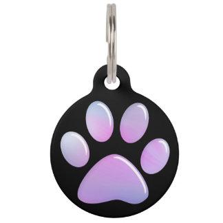 Pet ID Tag - Candy Pastels Paw Print