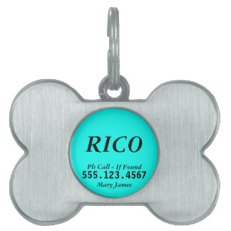 Pet ID Tag - Cyan Bone Design