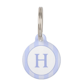 Pet ID Tag - Light Blue Stripes with Monogram