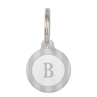 Pet ID Tag - Light Gray Stripes with Monogram