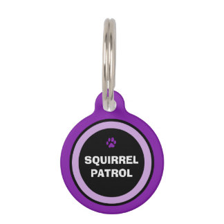 Pet ID Tag - Purple & Black - Squirrel Patrol