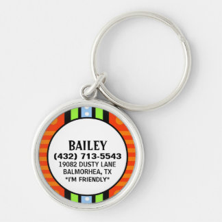 Pet ID Tag - Red Green & Blue Deco Design Silver-Colored Round Key Ring