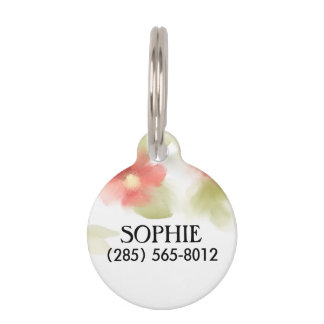 Pet ID Tag - Soft Red Floral Pattern