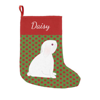 Pet Lop Ear White Rabbit Personalised Christmas Small Christmas Stocking