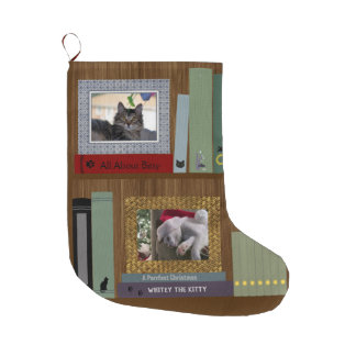 Pet Lover Books On A Shelf Large Christmas Stocking