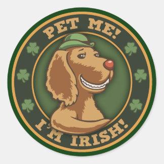 Pet Me I m Irish Round Stickers