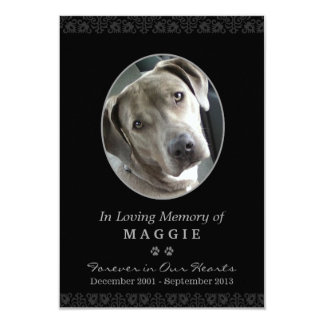 "Pet Memorial Card 3.5"" x 5"" Black Oval Photo Frame"