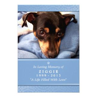 "Pet Memorial Card 3.5"" x 5"" - Light Blue Photo"