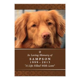 """Pet Memorial Card 3.5"""" x 5"""" - Medium Brown Photo"""