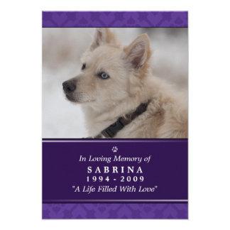 "Pet Memorial Card 3.5"" x 5"" - Purple Photo Modern"