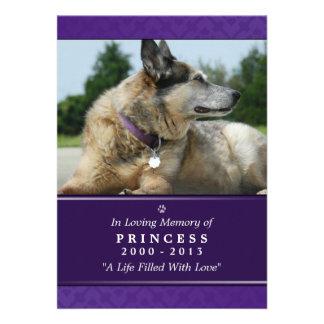 "Pet Memorial Card 5""x7"" Purple Modern Photo"