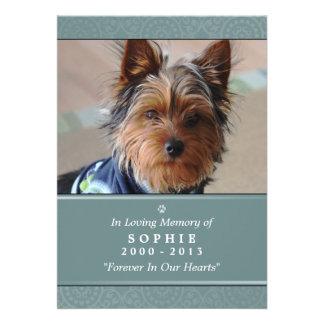 "Pet Memorial Card 5""x7"" Teal Modern Photo"