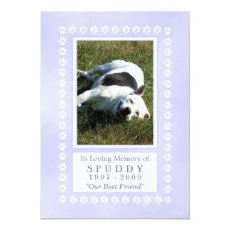 "Pet Memorial Card 5x7 - Heavenly Blue Pawprints 5"" X 7"" Invitation Card"