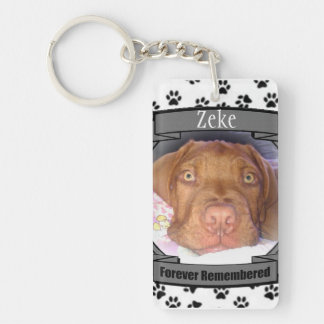 Pet Memorial - Forever Remembered - Pet Loss Dog Double-Sided Rectangular Acrylic Key Ring