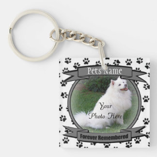 Pet Memorial - Forever Remembered - Pet Loss Dog Double-Sided Square Acrylic Key Ring