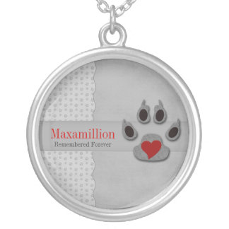 Pet Memorial Gray Dog Paw with Red Heart Silver Plated Necklace