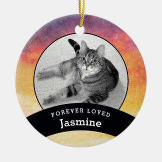 Pet Memorial Personalised Watercolor Add Photo Ceramic Ornament