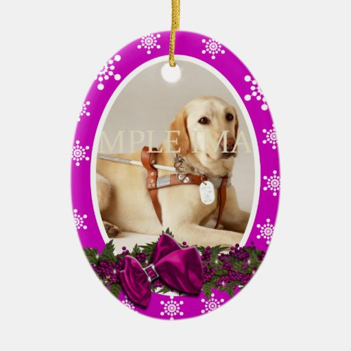 Pet memorial photo PERSONALIZE pink Christmas Tree Ornaments