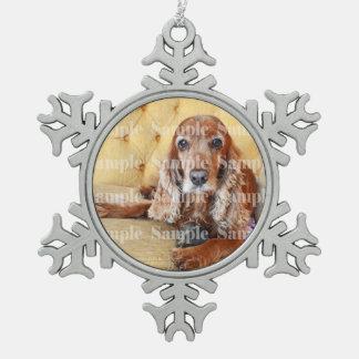 Pet memorial photo PERSONALIZE Snowflake Pewter Christmas Ornament