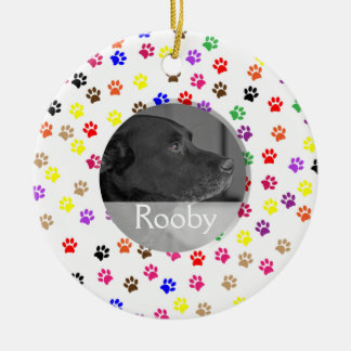 Pet Memorial Photo | Pet Loss Sympathy Paw Prints Ceramic Ornament