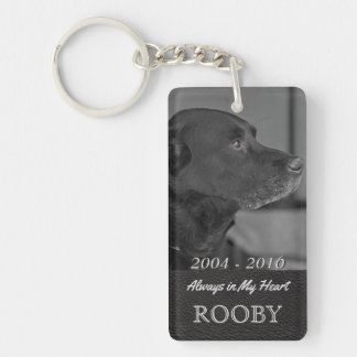 Pet Memorial Photo | Tribute In My Heart Double-Sided Rectangular Acrylic Key Ring