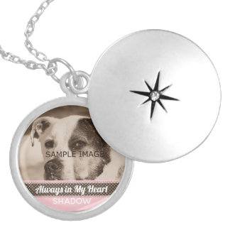 Pet Memorial Photo Tribute Keepsake Pink Brown Silver Plated Necklace