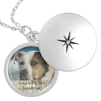 Pet Memorial Photo Tribute Keepsake Rustic Wood Silver Plated Necklace