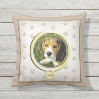 Pet Memorial with Gold Tag Outdoor Cushion