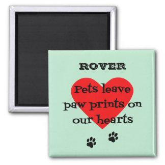Pet memory custom name paw prints aqua magnet
