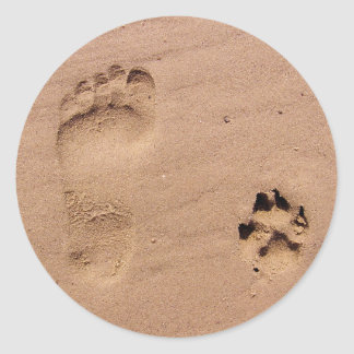 Pet & Owner Prints in the Sand Round Sticker