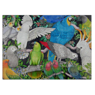Pet Parrots of the World Cutting Board
