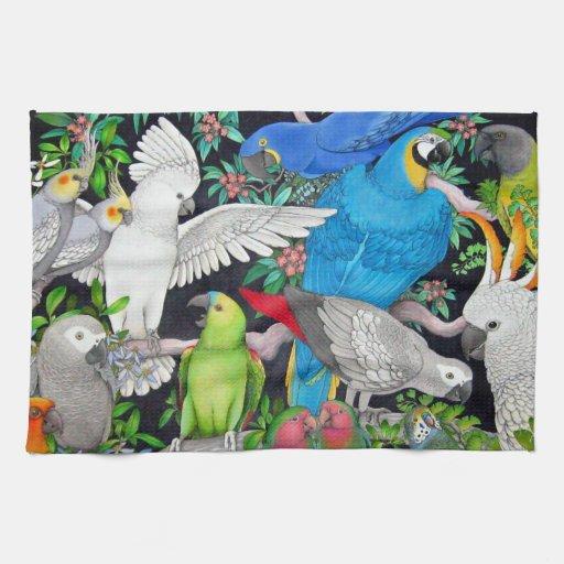 Pet Parrots of the World Kitchen Towel